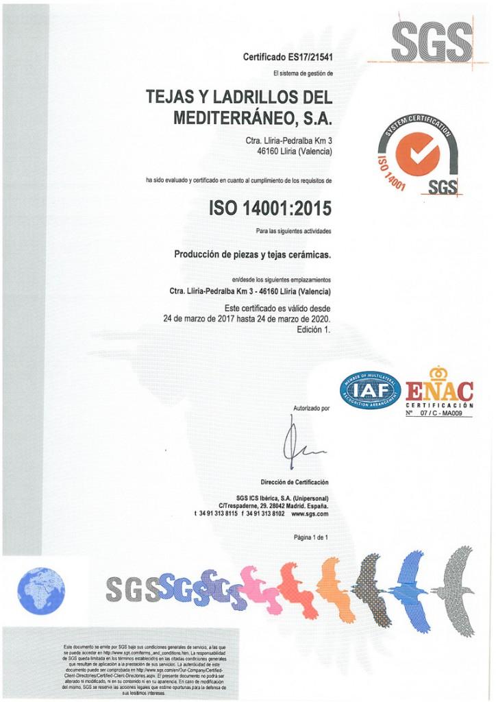 SGS ISO 14001 | Tejas