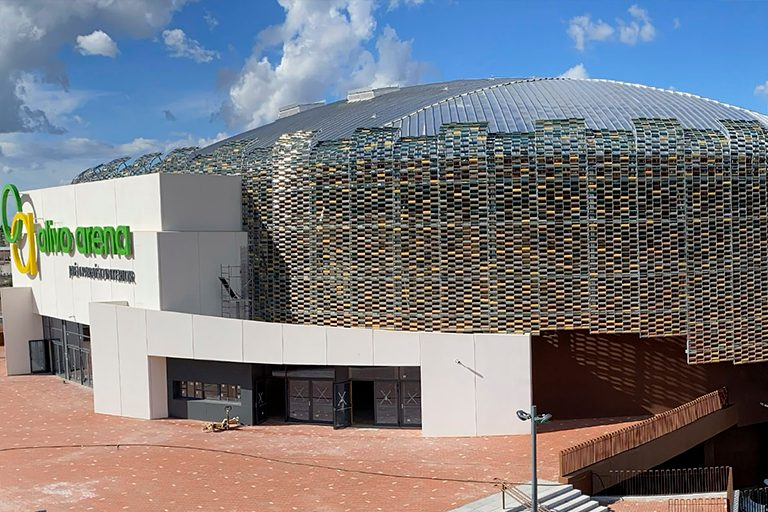 Ceramic facade of the OLIVO SPORTS ARENA